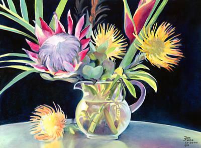 Anna's Protea Flowers Transparent Art Print by Don Jusko