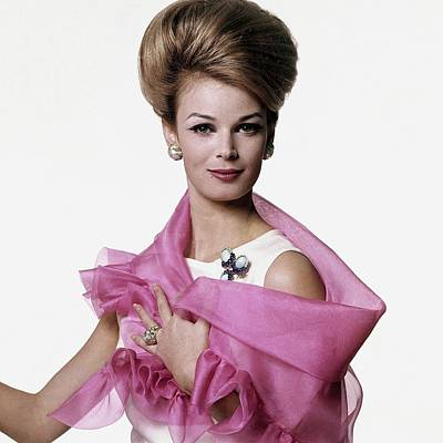 Pink Photograph - Anne De Zogheb Wearing A Doro Wrap by Bert Stern