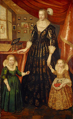 Aristocracy Photograph - Anne Erskine, Countess Of Rothes D.1640 And Her Daughters, Lady Margaret And Lady Mary Leslie, 1626 by George Jamesone