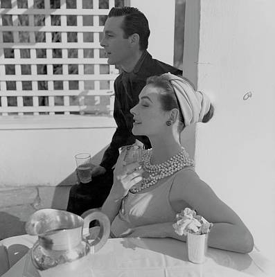 Necklace Photograph - Anne Gunning Parker Sitting With A Man by Horst P. Horst