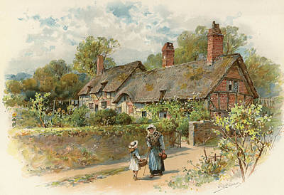 Anne Hathaway's Cottage At Shottery Art Print by William Stephen Coleman
