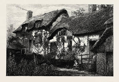Stratford Drawing - Anne Hathaways Cottage,  Stratford Upon Avon by English School