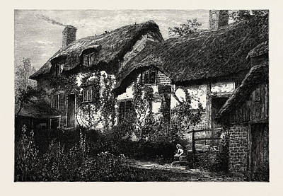 Country Cottage Drawing - Anne Hathaways Cottage, Uk by English School