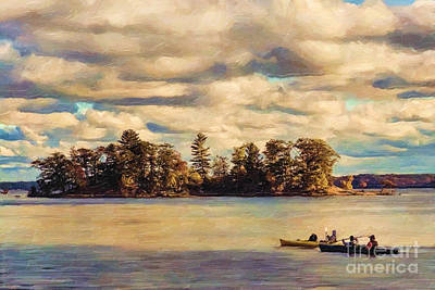 Canoe Digital Art - Anne Lacys Hamlin Lake by Lianne Schneider and Anne Lacy