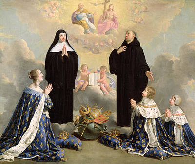 Anne Of Austria 1601-66 And Her Children At Prayer With St. Benedict And St. Scholastica, 1646 Oil Art Print by Philippe de Champaigne