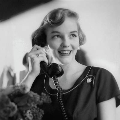 Anne Schroeder Anderson With A Telephone Art Print