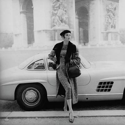 1955 Photograph - Anne St. Marie By A Mercedes-benz Car by Henry Clarke