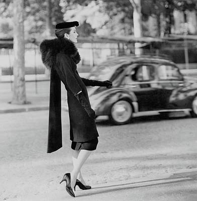 Updo Photograph - Anne St. Marie Standing In A Street by Henry Clarke