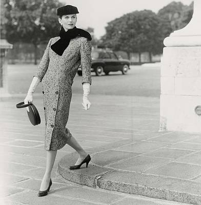 Ascot Photograph - Anne St. Marie Wearing A Balenciaga Dress by Henry Clarke