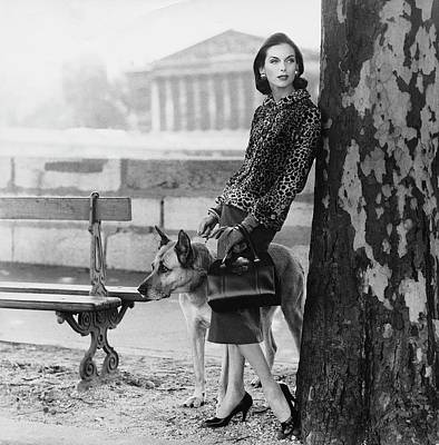 Park Benches Photograph - Anne St. Marie Wearing  A Chanel Jacket by Henry Clarke