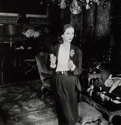 Photograph - Anne St. Marie Wearing A Chanel Suit by Henry Clarke