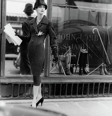 High Fashion Photograph - Anne St. Marie Wearing A Dior Coat by Henry Clarke