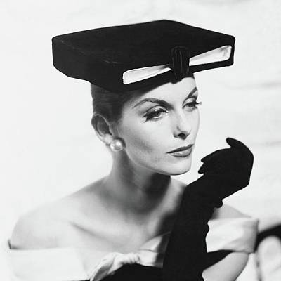 Photograph - Anne St. Marie Wearing A Givenchy Hat by Henry Clarke