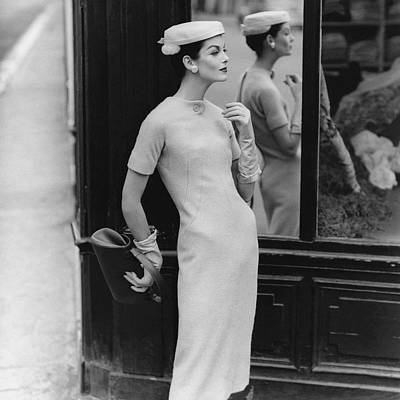 1955 Photograph - Anne St. Marie Wearing Givenchy by Henry Clarke