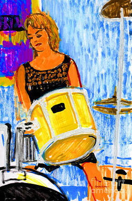 Drum Set Painting - Annette On Drums by Candace Lovely