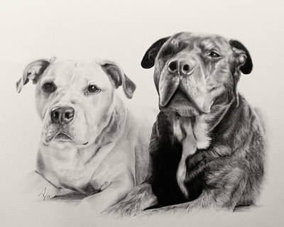 Pitbull Drawing - Annie And Bear by Patrick Entenmann