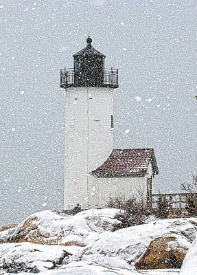 Photograph - Annisquam Light-snow Storm 1 by Michael Hubley