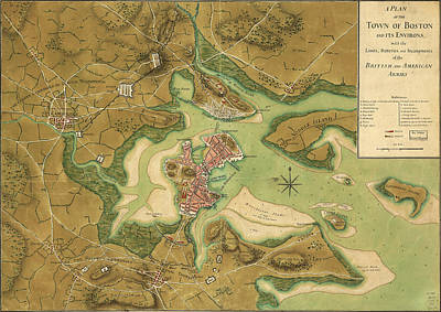 Old Map Painting - Anniv Of Paul Revere S Ride Boston In 1776 by Celestial Images