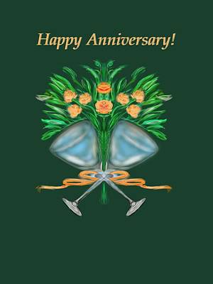 Art Print featuring the digital art Anniversary Bouquet by Christine Fournier