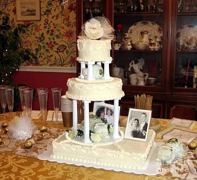 Photograph - Anniversary Wedding Cake by Renee Trenholm