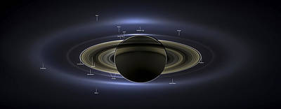 Pandora Photograph - Annotated Saturn Mosaic With Earth by Adam Romanowicz