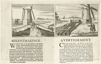 Water Mill Drawing - Announcement Of A New Type Of Water Mill by Caspar Luyken