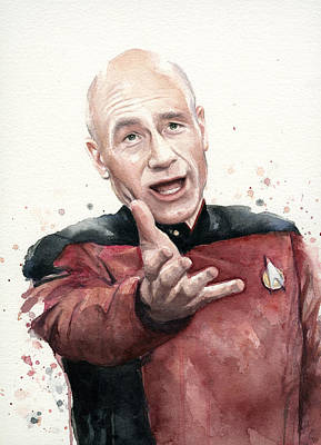 Funny Painting - Annoyed Picard Meme by Olga Shvartsur