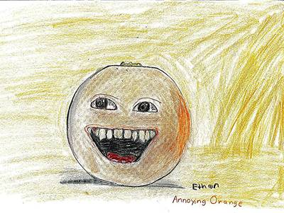 Drawing - Annoying Orange by Fred Hanna