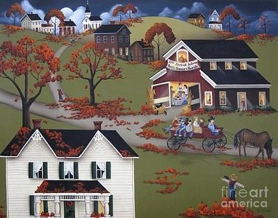 Primitive Folk Art Painting - Annual Barn Dance And Hayride by Catherine Holman