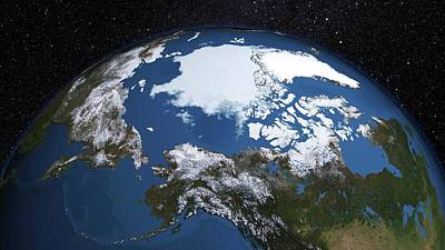 Oceans 11 Photograph - Annual Minimum Arctic Sea Ice by Nasa's Scientific Visualization Studio