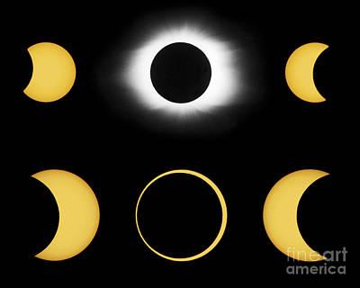 Annular And Total Solar Eclipses Art Print by John Chumack