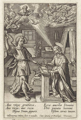 Angels Watching Drawing - Annunciation, Hieronymus Wierix by Hieronymus Wierix