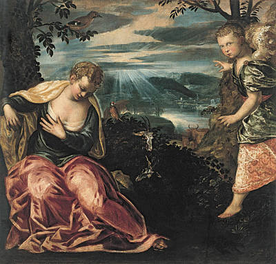 Annunciation To Manoahs Wife Art Print by Tintoretto