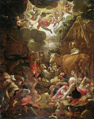Annunciation Drawing - Annunciation To The Shepherds, Joachim Wtewael by Litz Collection