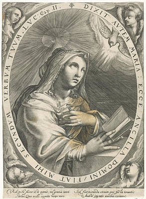 Annunciation Drawing - Annunciation Virgin Mary, Crispijn Van De Passe by Quint Lox