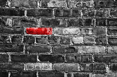 Selective Color Digital Art - Another Brick In The Wall by Delphimages Photo Creations