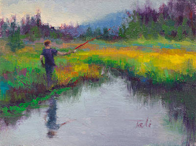 Alaskan Painting - Another Cast - Fishing In Alaskan Stream by Talya Johnson