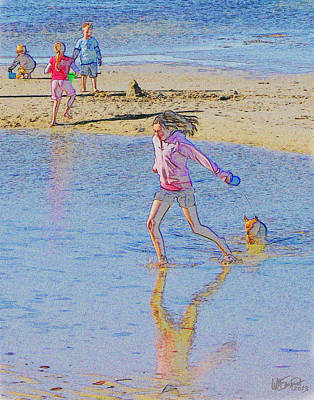 Dog Walking Digital Art - Another Day At The Beach by William Sargent
