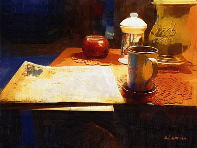 Lamplight Painting - Another Night With Nothing But The News by RC deWinter