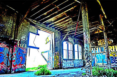 Photograph - Another One Inside The Old Train Roundhouse At Bayshore Near San Francisco Altered IIi by Jim Fitzpatrick