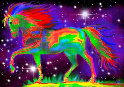 Rainbow Fantasy Art Painting - Another Rainbow Stallion by Nick Gustafson