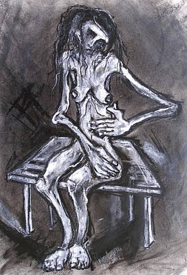 Drawing - Another Seated Female Model On Small Table by Kenneth Agnello
