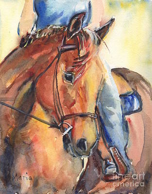 Forelock Painting - Horse In Watercolor Another Sunrise by Maria's Watercolor