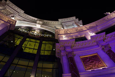 Photograph - Another View Of The Forum Shops Glamorous Entrance At Night by Georgia Mizuleva