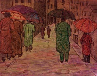 Drawing - Another Walk In The Rain by Christy Saunders Church