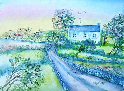 Another Windy Day On Cleare Island Ireland   Art Print by Trudi Doyle