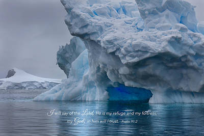 Photograph - Antarctic Blue Iceberg Cave by June Jacobsen