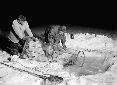 Winter Night Photograph - Antarctic Expedition Fishing by Scott Polar Research Institute