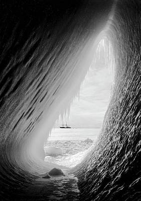 Terra Photograph - Antarctic Ice Grotto And Terra Nova by Scott Polar Research Institute