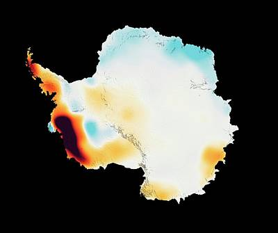 Ice Out Photograph - Antarctic Ice Mass Change 2003-2013 by Nasa